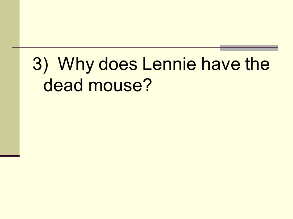 3) Why does Lennie have the dead mouse?
