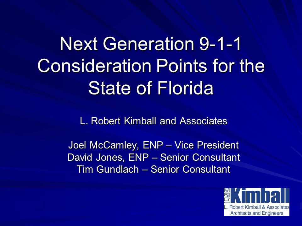 Next Generation Consideration Points for the State of Florida L.