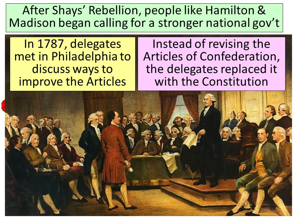 Americas First National Government: The Articles of Confederation After Shays Rebellion, people like Hamilton & Madison began calling for a stronger n