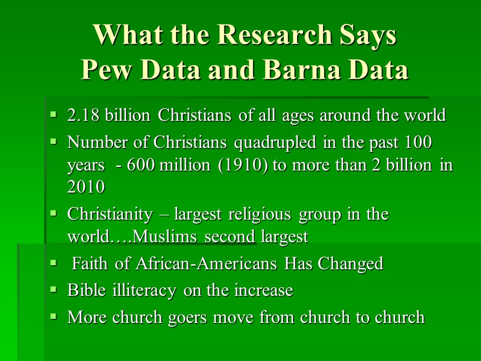 What the Research Says Pew Data and Barna Data 2.18 billion Christians of all ages around the world 2.18 billion Christians of all ages around the world Number of Christians quadrupled in the past 100 years - 600 million (1910) to more than 2 billion in 2010 Number of Christians quadrupled in the past 100 years - 600 million (1910) to more than 2 billion in 2010 Christianity – largest religious group in the world….Muslims second largest Christianity – largest religious group in the world….Muslims second largest Faith of African-Americans Has Changed Faith of African-Americans Has Changed Bible illiteracy on the increase Bible illiteracy on the increase More church goers move from church to church More church goers move from church to church