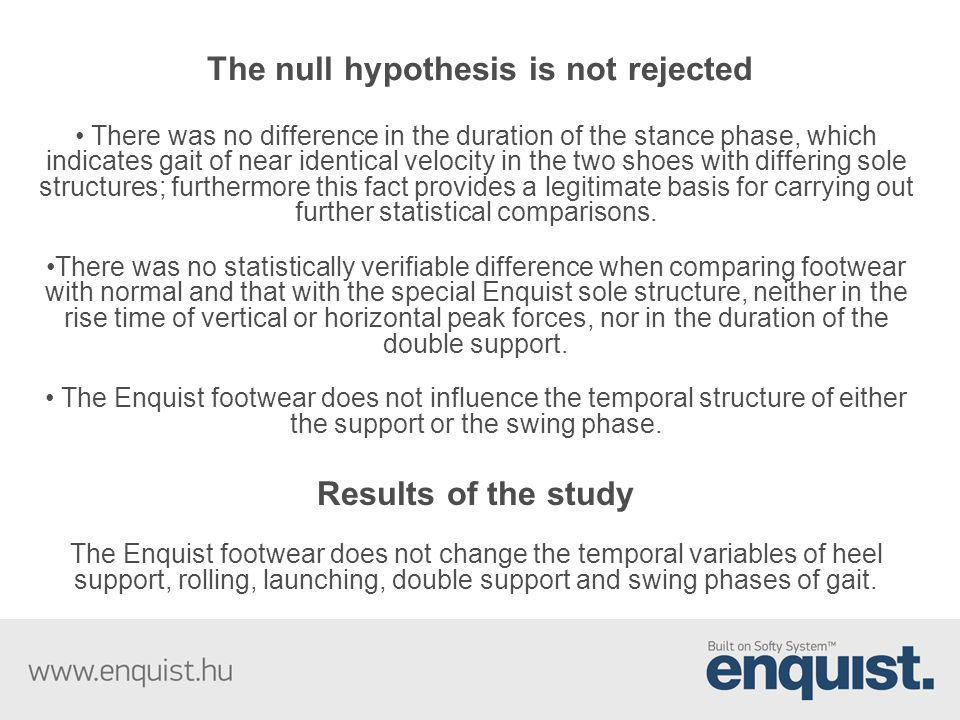 The null hypothesis is not rejected There was no difference in the duration of the stance phase, which indicates gait of near identical velocity in th