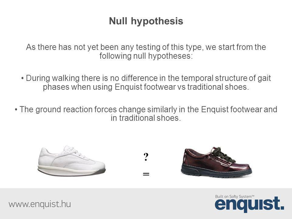 Null hypothesis As there has not yet been any testing of this type, we start from the following null hypotheses: During walking there is no difference