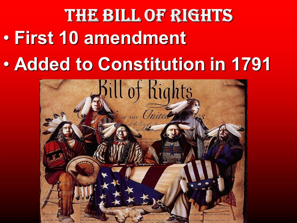 THE BILL OF RIGHTS First 10 amendmentFirst 10 amendment Added to Constitution in 1791Added to Constitution in 1791