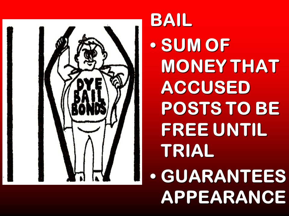 BAIL SUM OF MONEY THAT ACCUSED POSTS TO BE FREE UNTIL TRIALSUM OF MONEY THAT ACCUSED POSTS TO BE FREE UNTIL TRIAL GUARANTEES APPEARANCEGUARANTEES APPE