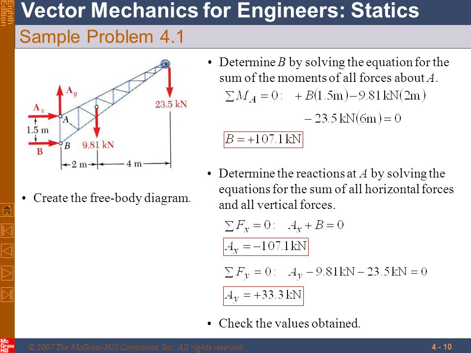 © 2007 The McGraw-Hill Companies, Inc. All rights reserved. Vector Mechanics for Engineers: Statics EighthEdition 4 - 10 Sample Problem 4.1 Create the