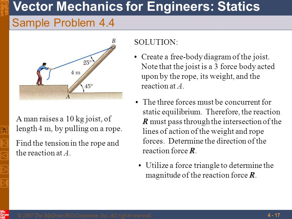 © 2007 The McGraw-Hill Companies, Inc. All rights reserved. Vector Mechanics for Engineers: Statics EighthEdition 4 - 17 Sample Problem 4.4 A man rais