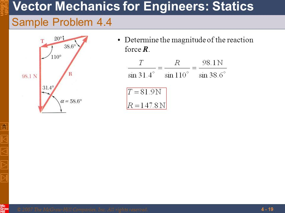 © 2007 The McGraw-Hill Companies, Inc. All rights reserved. Vector Mechanics for Engineers: Statics EighthEdition 4 - 19 Sample Problem 4.4 Determine