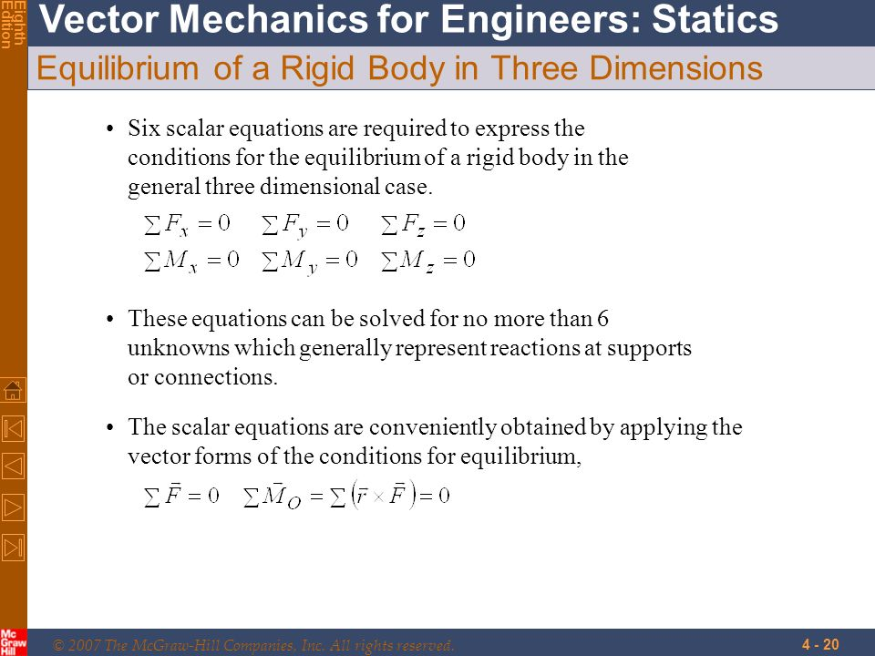 © 2007 The McGraw-Hill Companies, Inc. All rights reserved. Vector Mechanics for Engineers: Statics EighthEdition 4 - 20 Equilibrium of a Rigid Body i