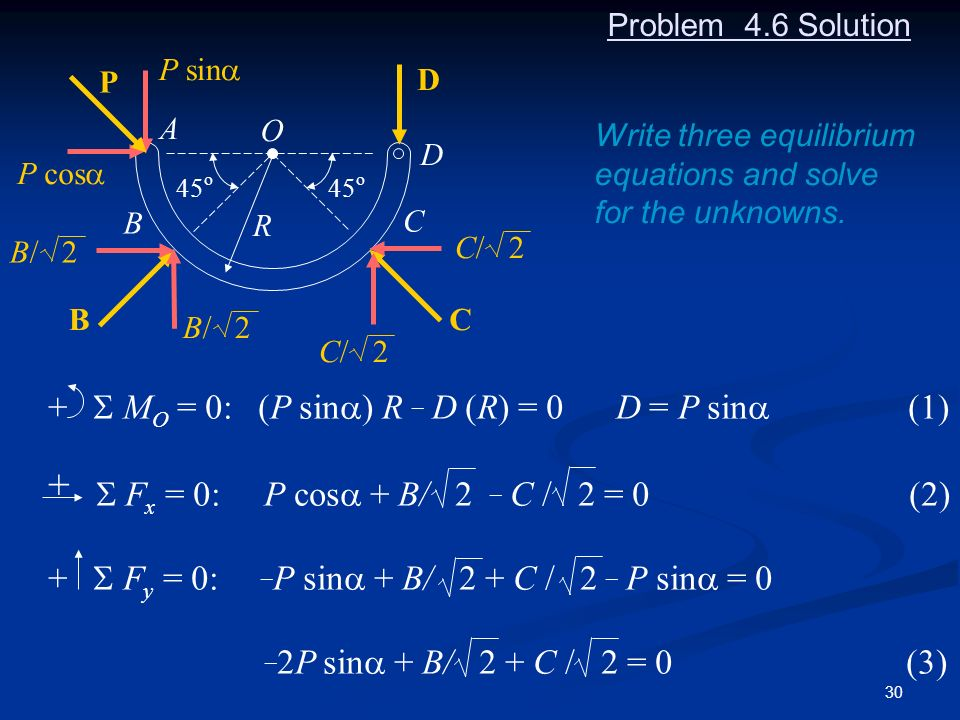 30 Problem 4.6 Solution 45 o O D C A B P sin P cos D C R B C/ 2 B/ 2 Write three equilibrium equations and solve for the unknowns. + M O = 0: (P sin )