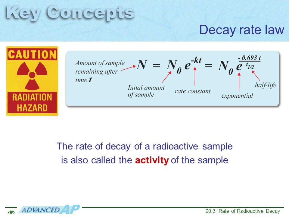 25 20.3 Rate of Radioactive Decay Decay rate law The rate of decay of a radioactive sample is also called the activity of the sample