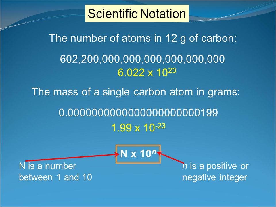 Scientific Notation The number of atoms in 12 g of carbon: 602,200,000,000,000,000,000,000 6.022 x 10 23 The mass of a single carbon atom in grams: 0.