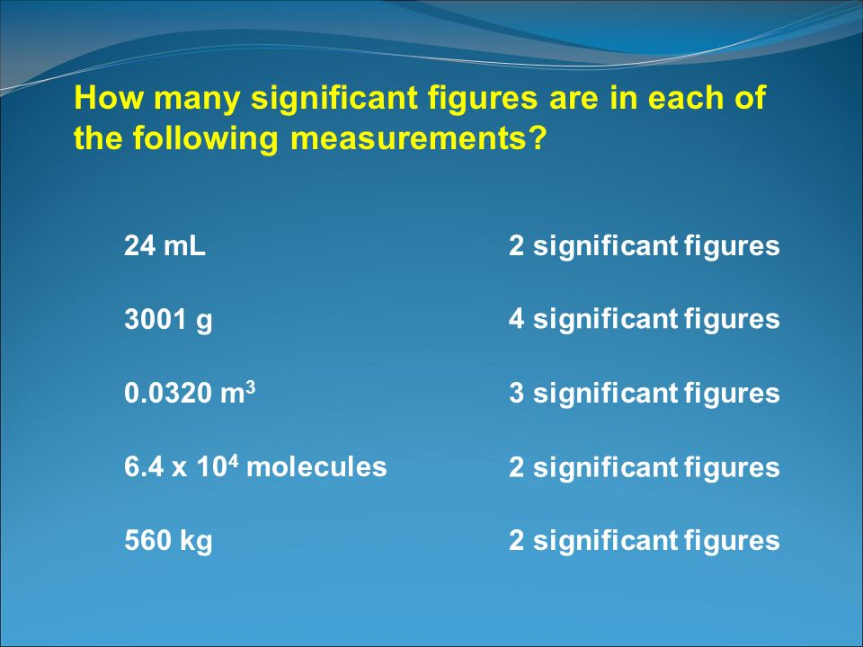 How many significant figures are in each of the following measurements? 24 mL2 significant figures 3001 g 4 significant figures 0.0320 m 3 3 significa