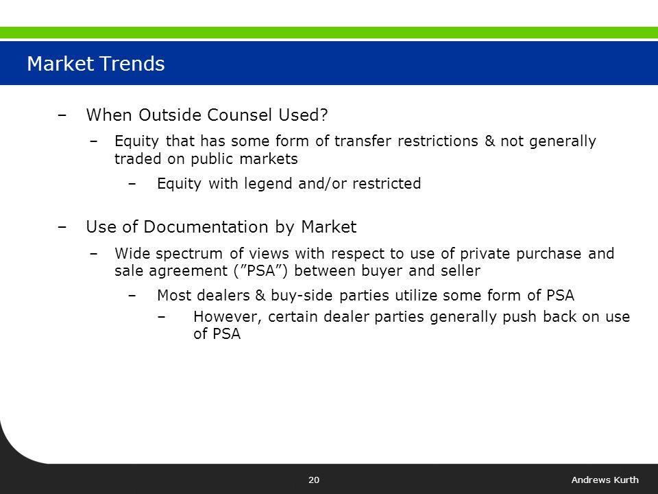 Andrews Kurth19 - Broker-Dealer Regulations –FINRA Rules –Regulation T (Delivery v.