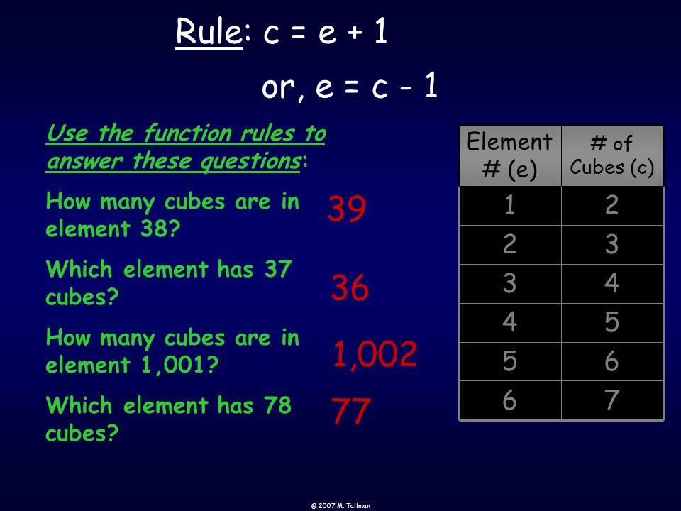 © 2007 M. Tallman 76 6 5 54 43 32 21 # of Cubes (c) Element # (e) 1 2 3 4 5 6 Rule: c = e + 1, or e = c - 1 Rule ?