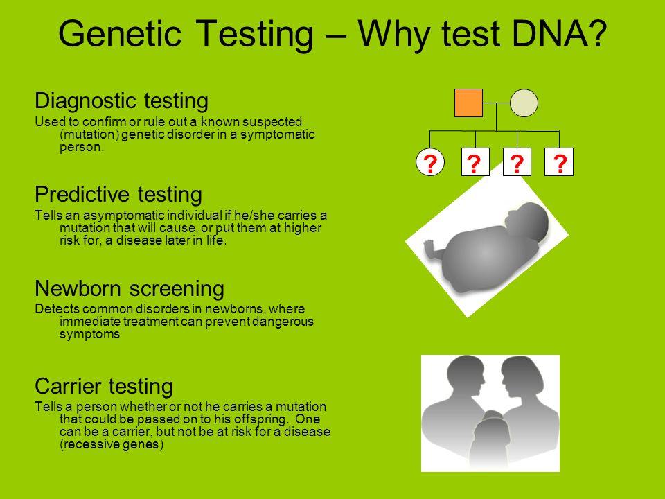 Diagnostic testing Used to confirm or rule out a known suspected (mutation) genetic disorder in a symptomatic person.