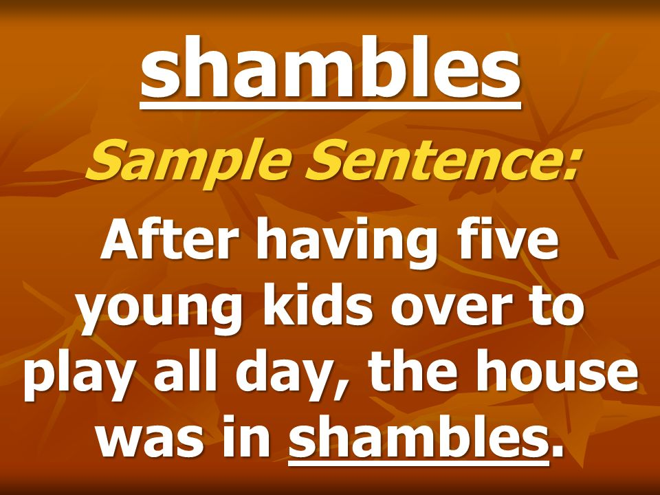 shambles Sample Sentence: After having five young kids over to play all day, the house was in shambles.
