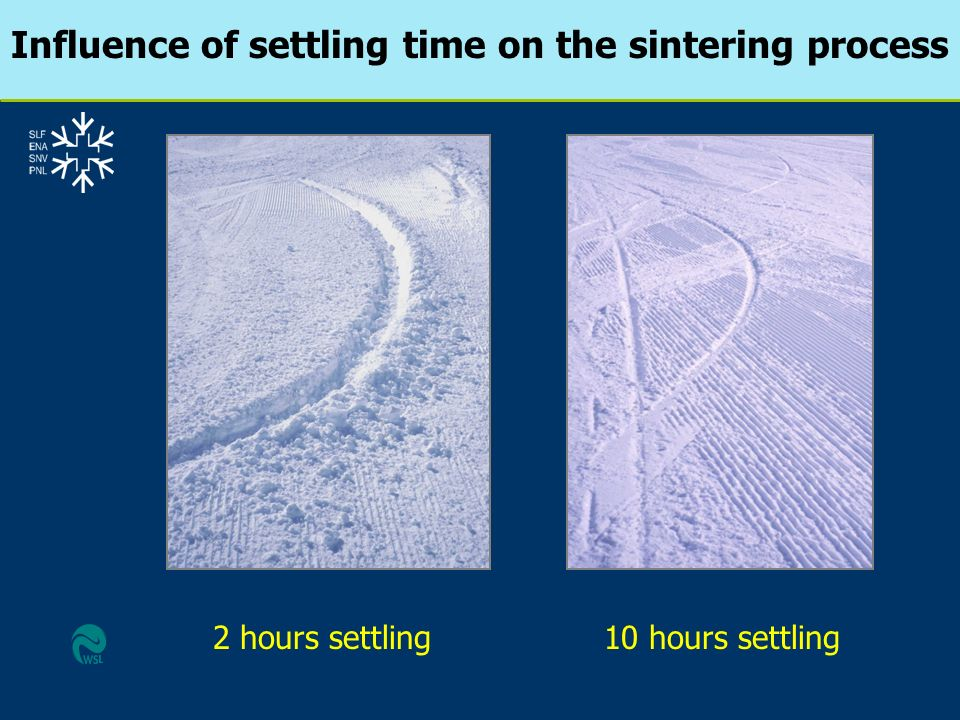 Influence of settling time on the sintering process 2 hours settling10 hours settling