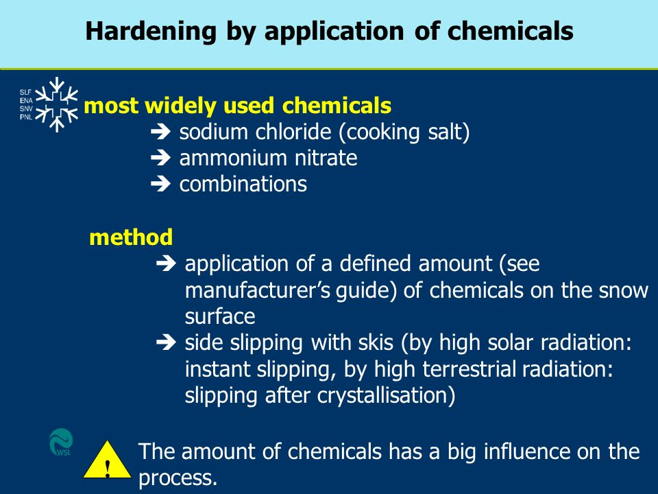 method application of a defined amount (see manufacturers guide) of chemicals on the snow surface side slipping with skis (by high solar radiation: in