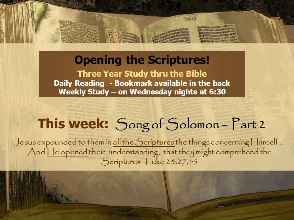 Opening the Scriptures! Three Year Study thru the Bible Daily Reading - Bookmark available in the back Weekly Study – on Wednesday nights at 6:30 This