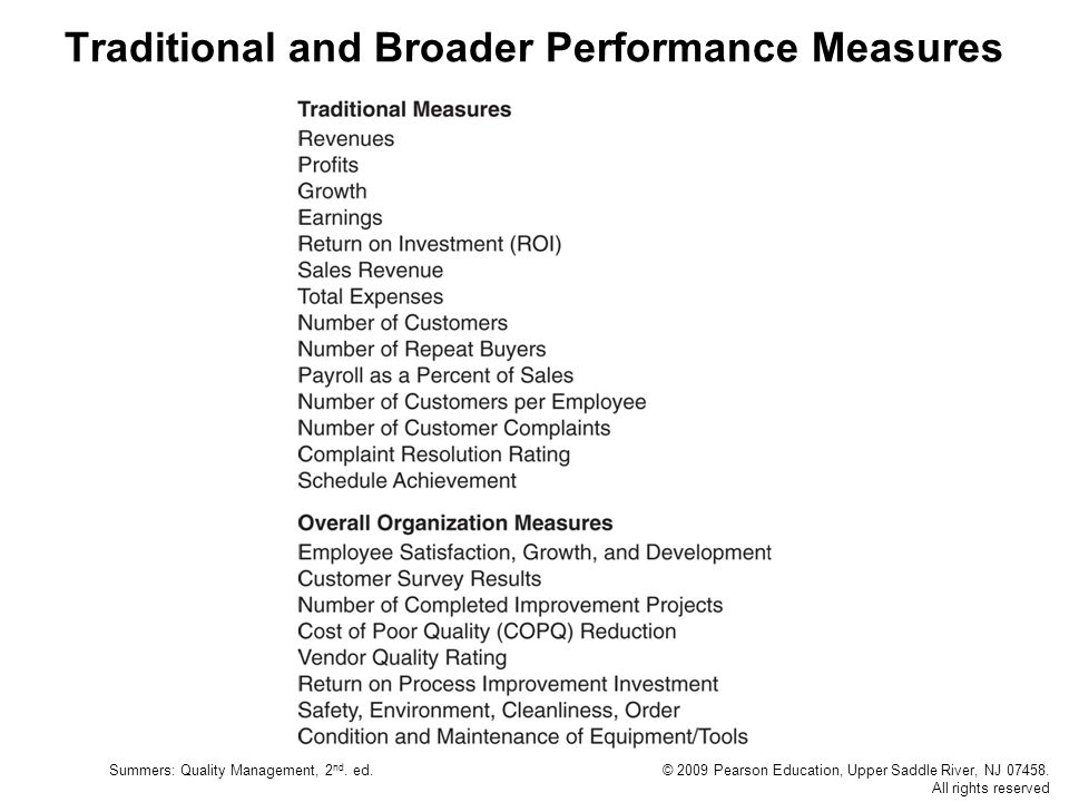 Summers: Quality Management, 2 nd. ed.© 2009 Pearson Education, Upper Saddle River, NJ 07458. All rights reserved Traditional and Broader Performance