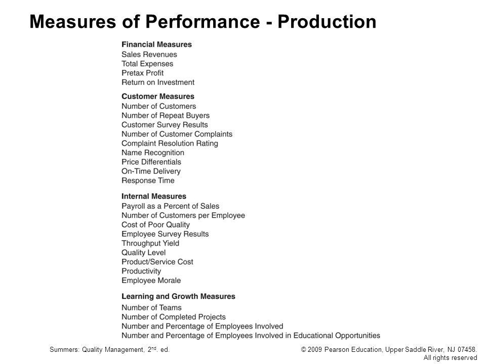 Summers: Quality Management, 2 nd. ed.© 2009 Pearson Education, Upper Saddle River, NJ 07458. All rights reserved Measures of Performance - Production