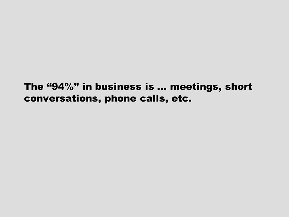 Do you carefully prepare for the 94%: Meetings. Phone calls. Emails. Conversations.