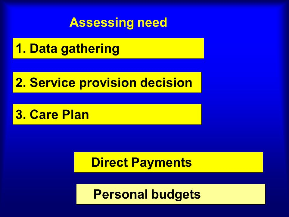 Assessing need 1. Data gathering 2. Service provision decision Direct Payments 3. Care Plan Personal budgets