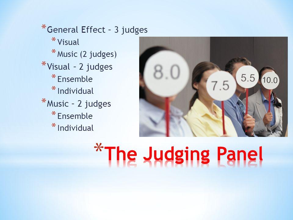 * General Effect – 3 judges * Visual * Music (2 judges) * Visual – 2 judges * Ensemble * Individual * Music – 2 judges * Ensemble * Individual