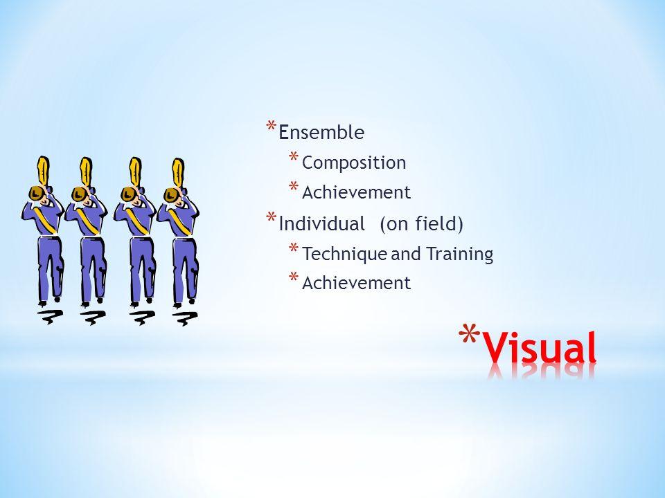 * Ensemble * Composition * Achievement * Individual (on field) * Technique and Training * Achievement