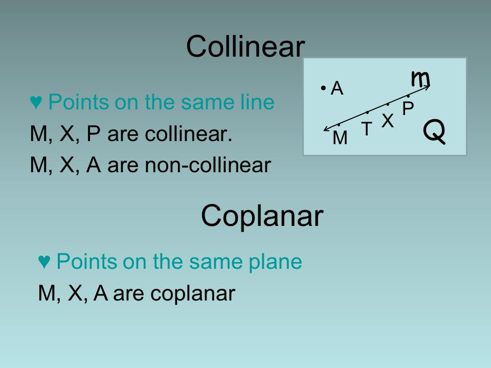 Collinear Points on the same line M, X, P are collinear. M, X, A are non-collinear Coplanar Points on the same plane M, X, A are coplanar A M T X P m