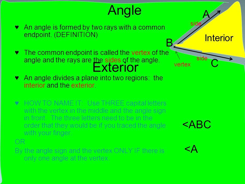 Exterior Angle An angle is formed by two rays with a common endpoint. (DEFINITION) The common endpoint is called the vertex of the angle and the rays