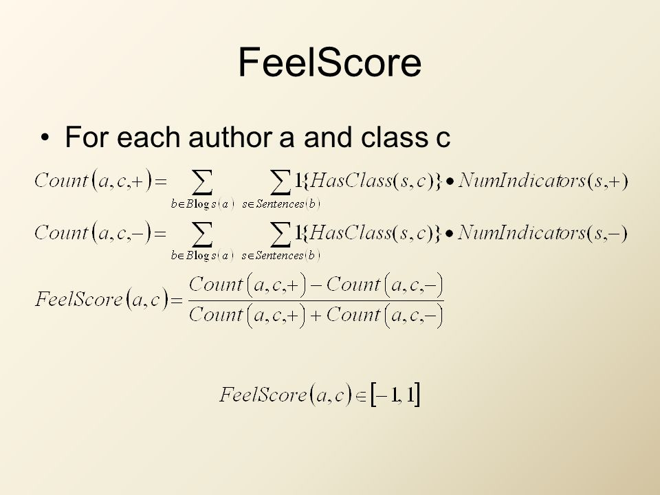 FeelScore For each author a and class c