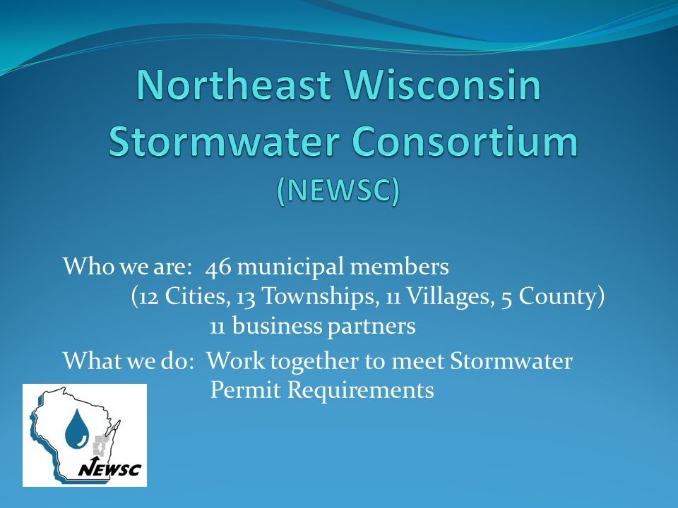 Who we are: 46 municipal members (12 Cities, 13 Townships, 11 Villages, 5 County) 11 business partners What we do: Work together to meet Stormwater Permit Requirements