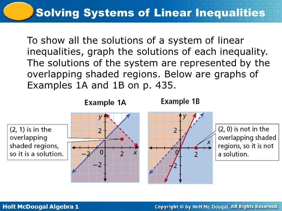 Holt McDougal Algebra 1 Solving Systems of Linear Inequalities To show all the solutions of a system of linear inequalities, graph the solutions of ea