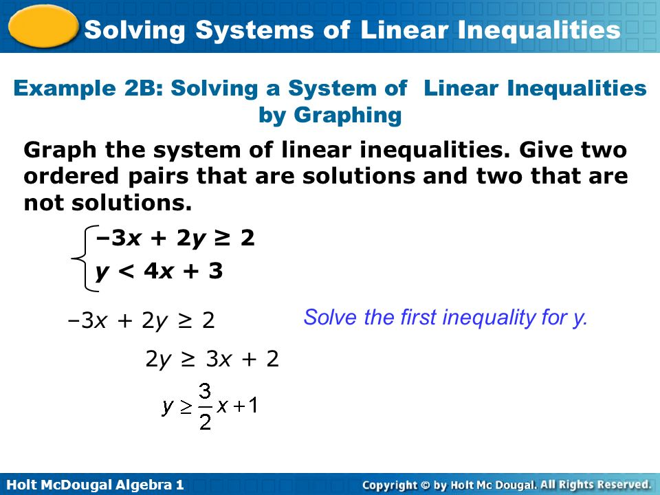 Holt McDougal Algebra 1 Solving Systems of Linear Inequalities Example 2B: Solving a System of Linear Inequalities by Graphing Graph the system of lin