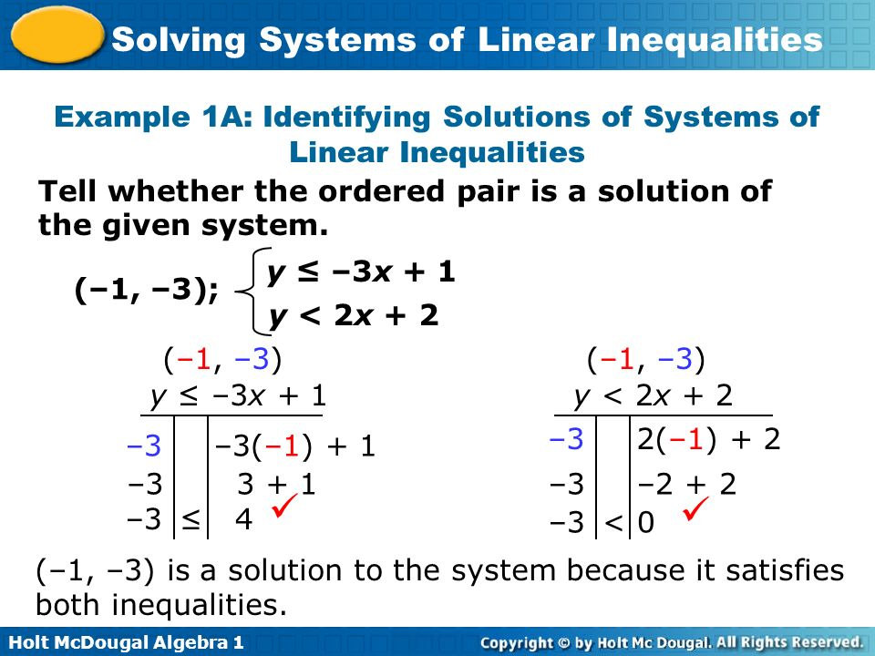 Holt McDougal Algebra 1 Solving Systems of Linear Inequalities Tell whether the ordered pair is a solution of the given system. Example 1A: Identifyin