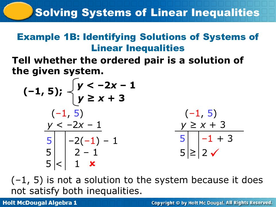 Holt McDougal Algebra 1 Solving Systems of Linear Inequalities An ordered pair must be a solution of all inequalities to be a solution of the system.