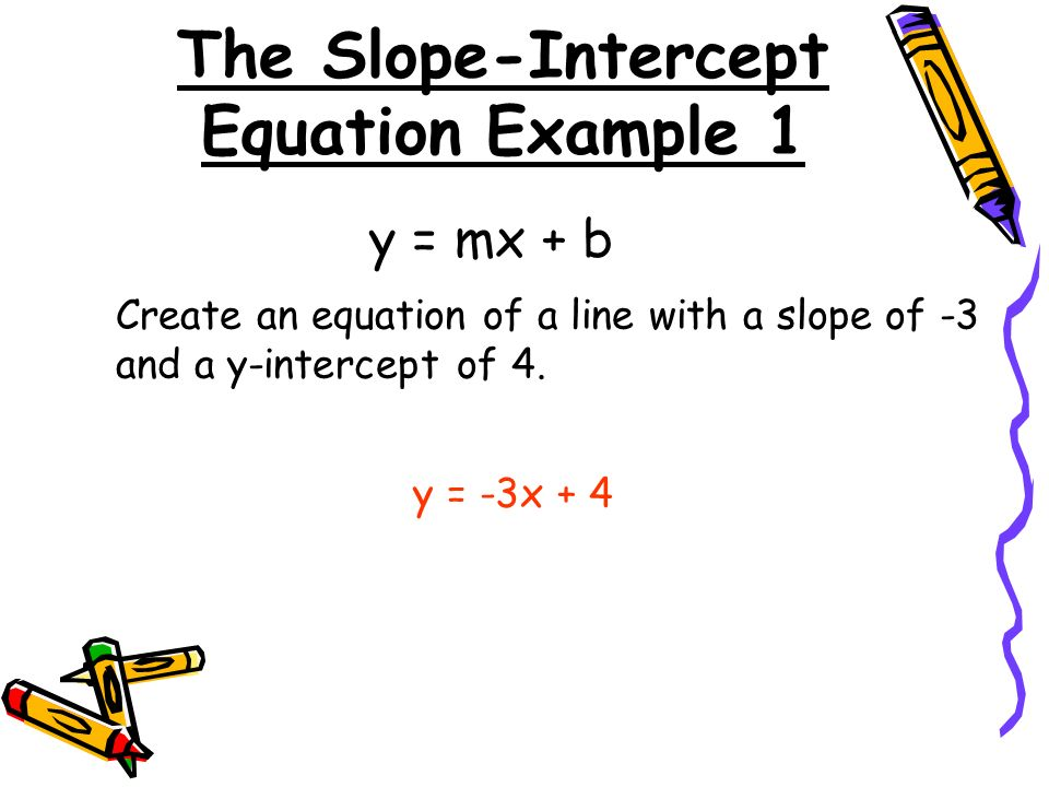 The Slope-Intercept Equation Example 1 y = mx + b Create an equation of a line with a slope of -3 and a y-intercept of 4.