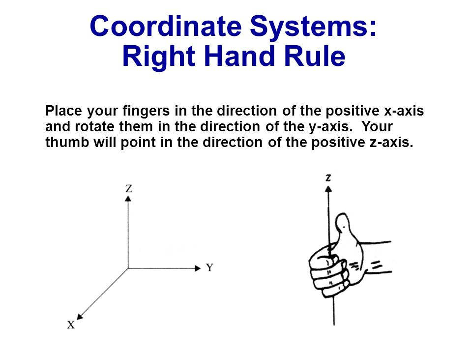 Coordinate Systems: Right Hand Rule Place your fingers in the direction of the positive x-axis and rotate them in the direction of the y-axis. Your th