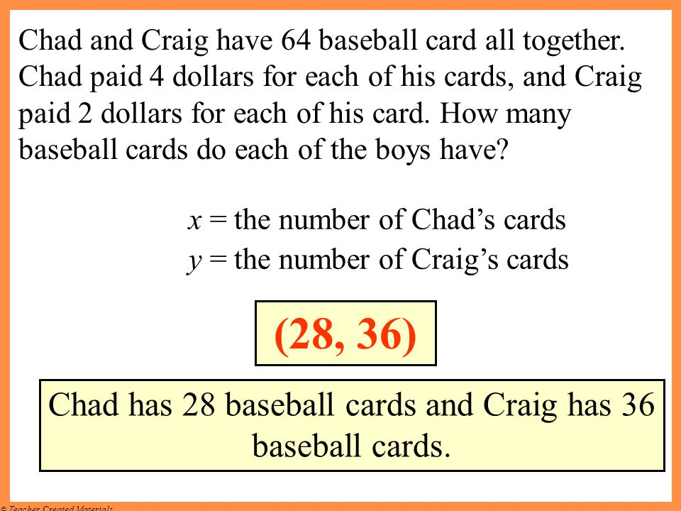 © Teacher Created Materials Chad and Craig have 64 baseball card all together. Chad paid 4 dollars for each of his cards, and Craig paid 2 dollars for