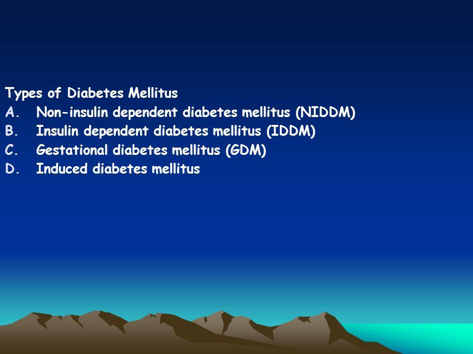 Types of Diabetes Mellitus A.Non-insulin dependent diabetes mellitus (NIDDM) B.Insulin dependent diabetes mellitus (IDDM) C.Gestational diabetes mellitus (GDM) D.Induced diabetes mellitus