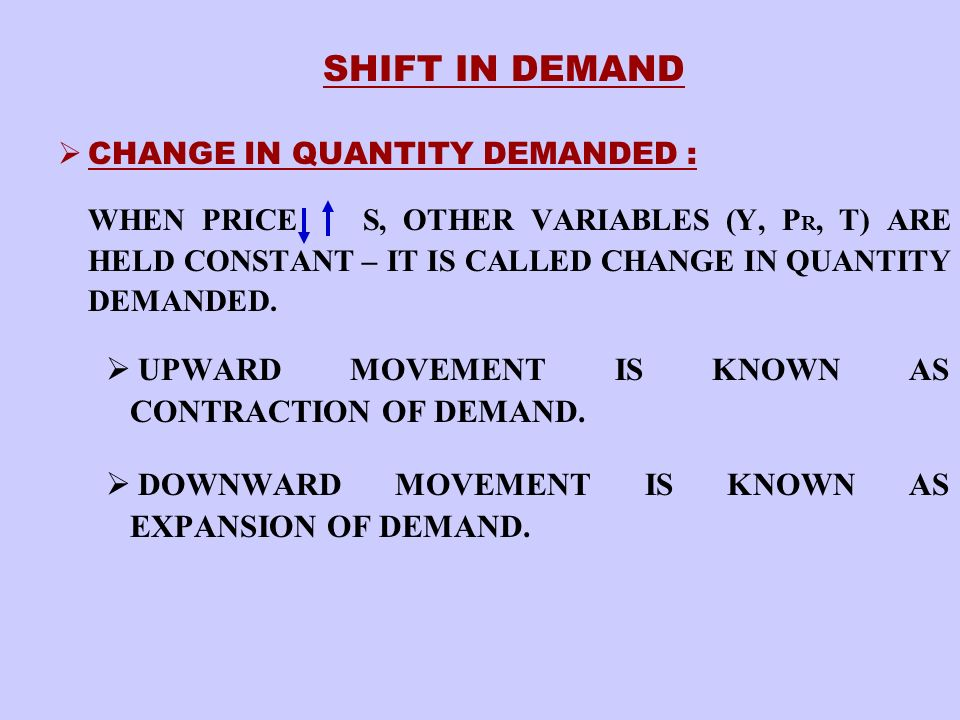 CHANGE IN DEMAND : IF THE PRICE HELD CONSTANT, OTHER VARIABLES (i.e.