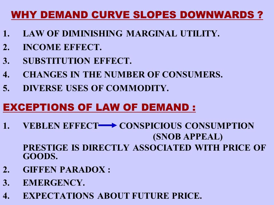 DEMAND FUNCTION THE DD FUNCTION IS AN ALGEBRIC EXPRESSIN OF THE RELATION BETWEEN THE DEMAND FOR A COMMODITY AND ITS VARIOUS DETERMINANTS LIKE THE PRICE OF THE COMMODITY, THE PRICE OF THE RELATED GOODS, THE LEVEL OF DISPOSABLE INCOME, TASTES AND PREFERENCES.