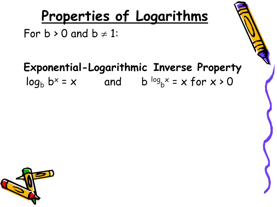 Properties of Logarithms Exponential-Logarithmic Inverse Property log b b x = x For b > 0 and b 1: and b log b x = x for x > 0