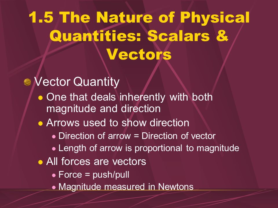 1.5 The Nature of Physical Quantities: Scalars & Vectors Scalar Quantity One that can be described by a single number (including units) giving its siz