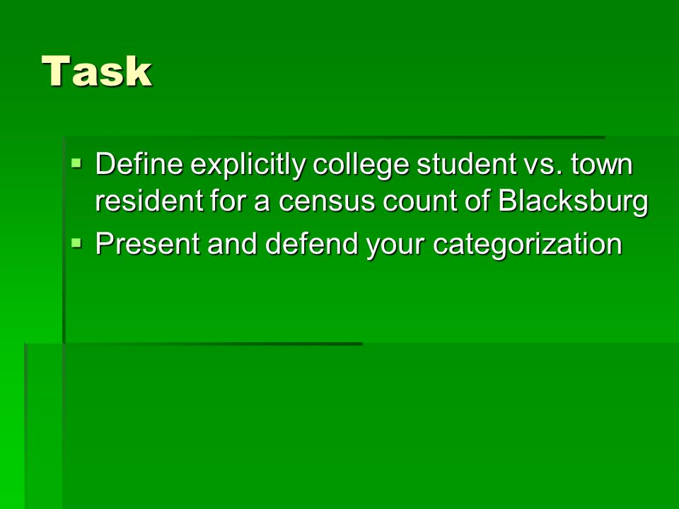 Task Define explicitly college student vs.