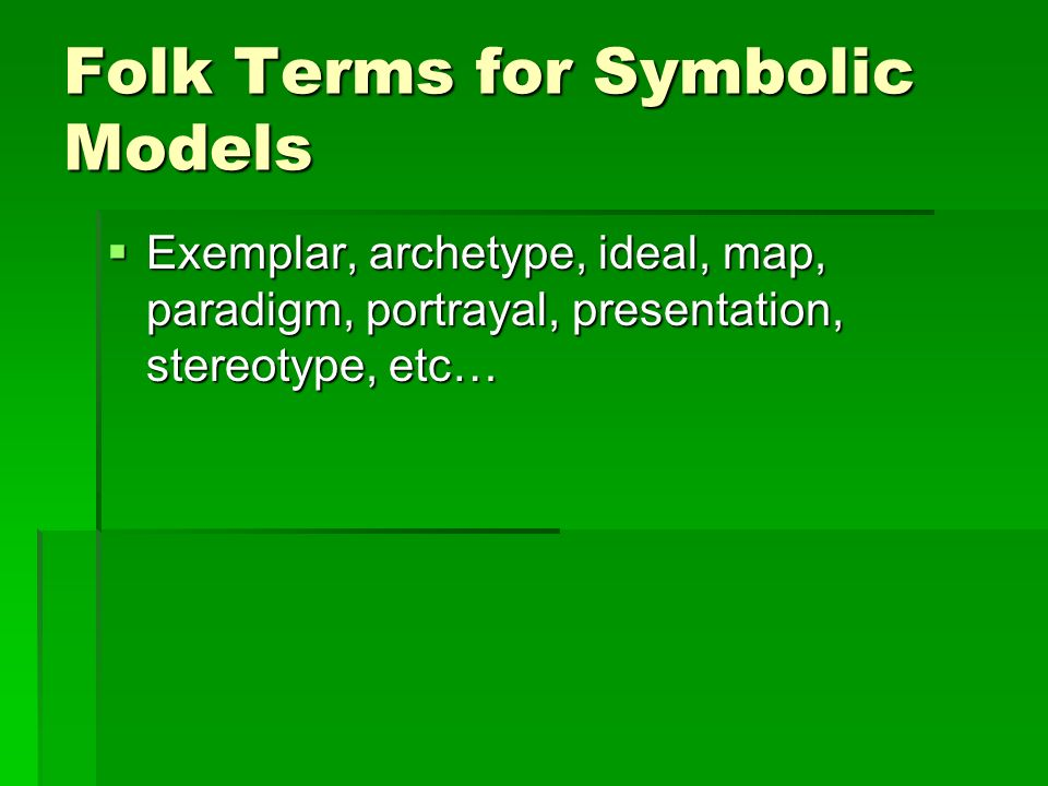 Folk Terms for Symbolic Models Exemplar, archetype, ideal, map, paradigm, portrayal, presentation, stereotype, etc… Exemplar, archetype, ideal, map, paradigm, portrayal, presentation, stereotype, etc…
