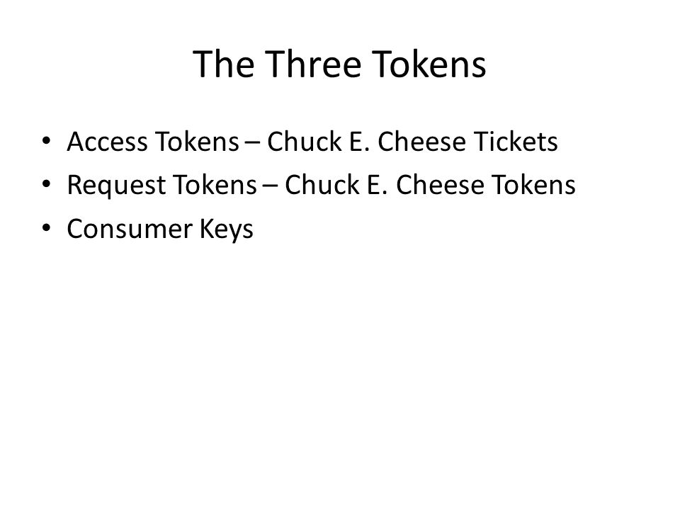 The Three Tokens Access Tokens – Chuck E. Cheese Tickets Request Tokens – Chuck E.