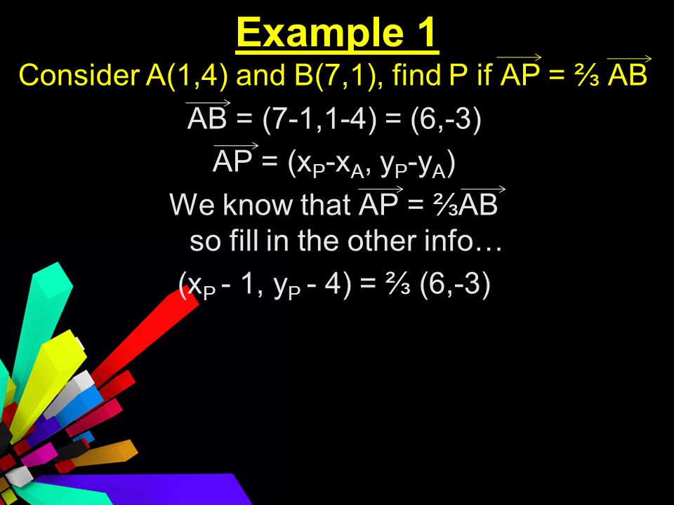 Example 1 Consider A(1,4) and B(7,1), find P if AP = AB AB = (7-1,1-4) = (6,-3) AP = (x P -x A, y P -y A ) We know that AP = AB so fill in the other info… (x P - 1, y P - 4) = (6,-3)