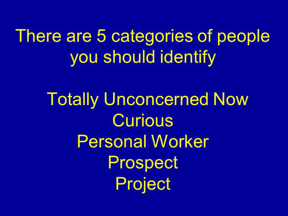 There are 5 categories of people you should identify Totally Unconcerned Now Curious Personal Worker Prospect Project